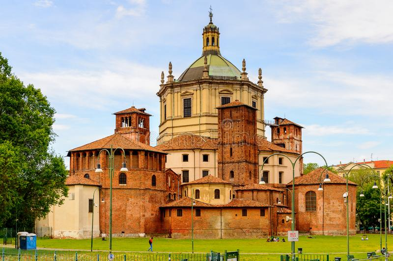 Architecture of Milan, Italy. MILAN, ITALY - May 2, 2014: Santa Margarita delle Grazie, Milan, the capital of Lombardy, Italy. Milan was the host of the 2015 royalty free stock images