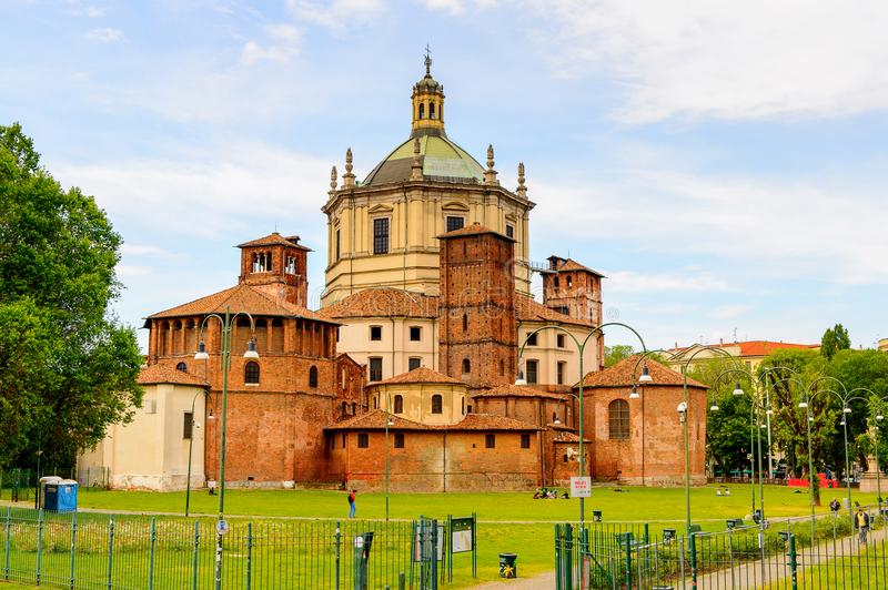 Architecture of Milan, Italy. MILAN, ITALY - May 2, 2014: Santa Margarita delle Grazie, Milan, the capital of Lombardy, Italy. Milan was the host of the 2015 royalty free stock photos