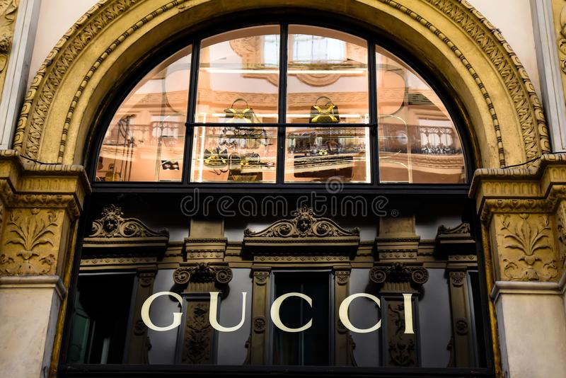 Logo Gucci Milano in Galleria Vittorio Emanuele II Italy royalty free stock images