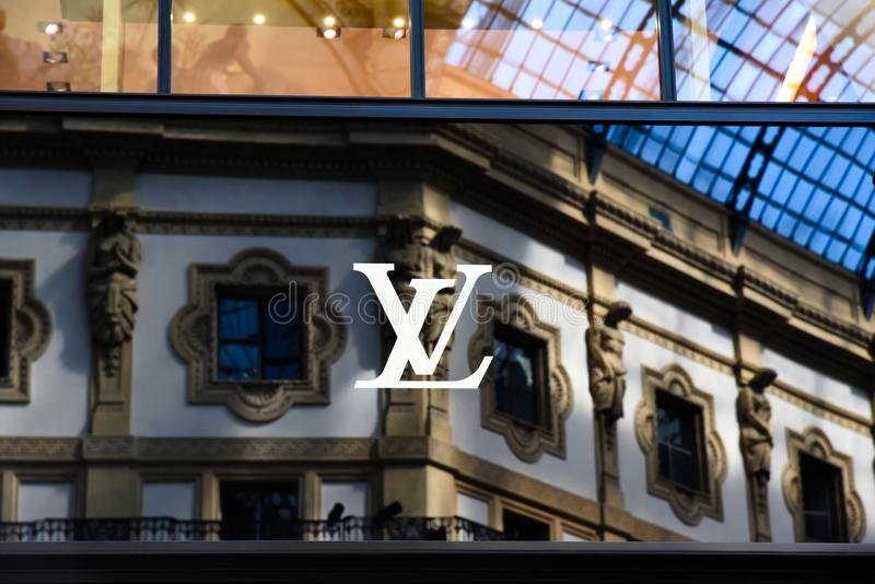 Logo Louis Vuitton Milano in Gallery Vittorio Emanuele II Italy royalty free stock photography
