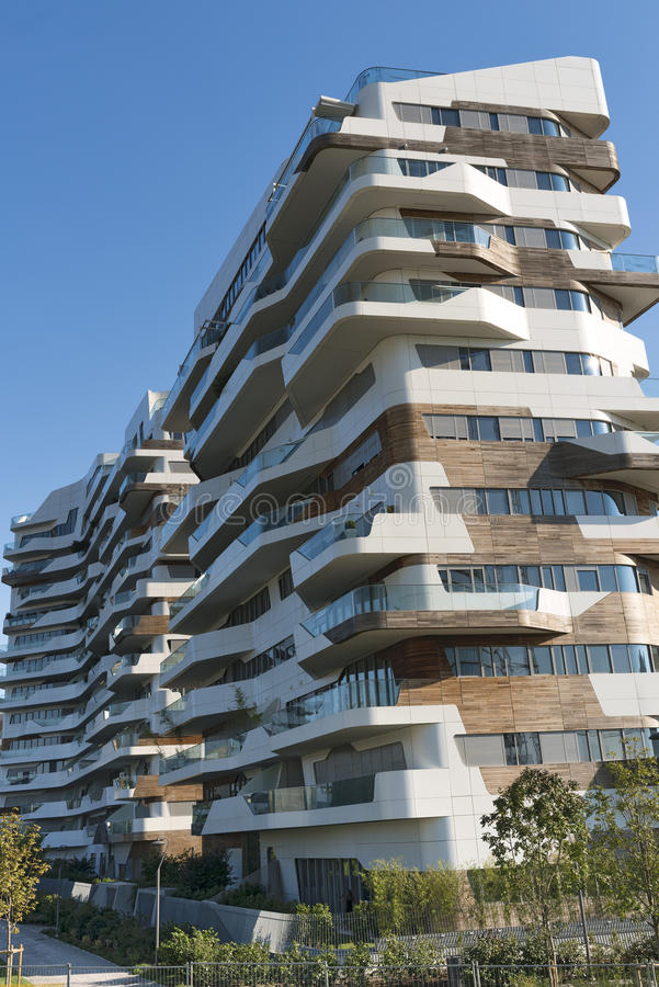 Milan Italy: moderne Gebäude bei Citylife stockbild