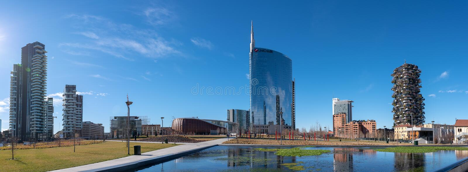 02/11/2019 Milan, Italy: skyline of Milan, view of the new city park, the tree library royalty free stock photo