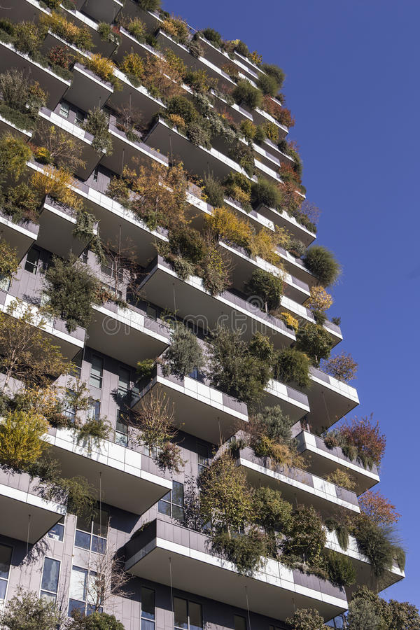 Milan Italy nov 2016 Bosco Verticale, vertical forest apartment stock images