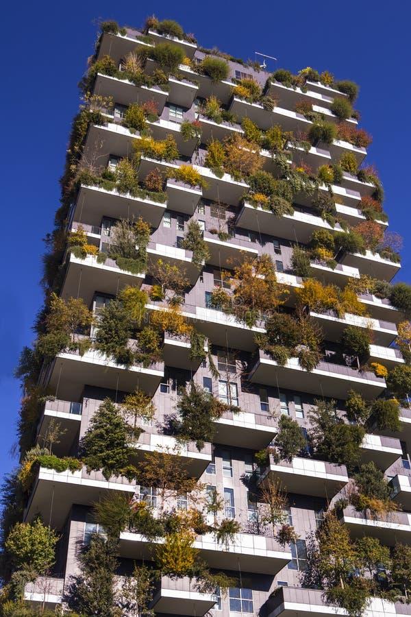 Milan Italy november 2016 Bosco Verticale, vertikal skoglägenhet arkivfoton
