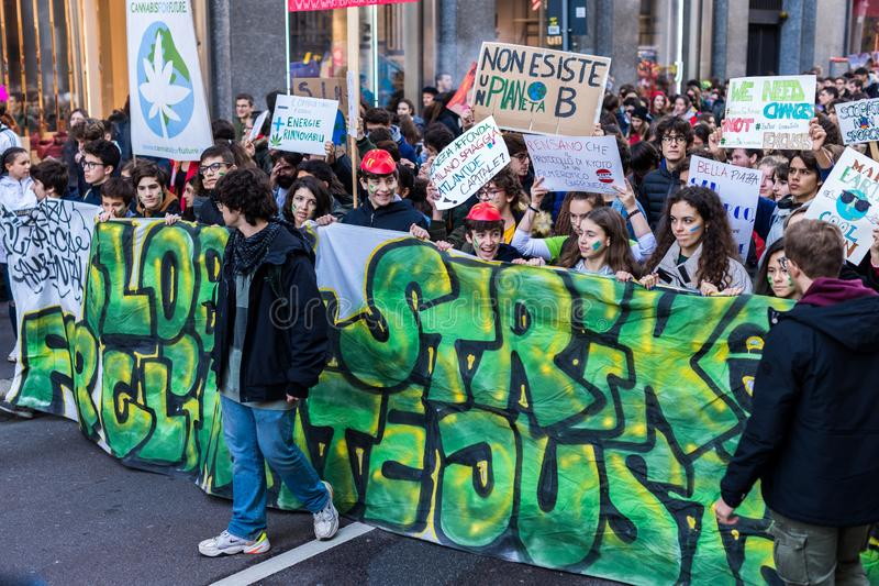 Milan, Italy - November 29: Fridays for Future strike protest, the italian students strike in Milan stock image