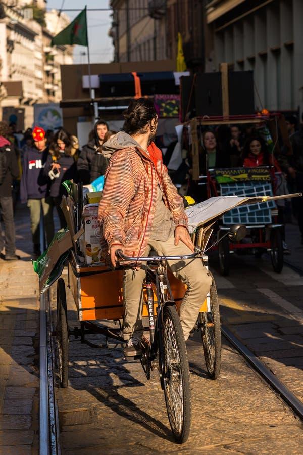 Milan, Italy - November 29: Fridays for Future strike protest, the italian students strike in Milan stock photo