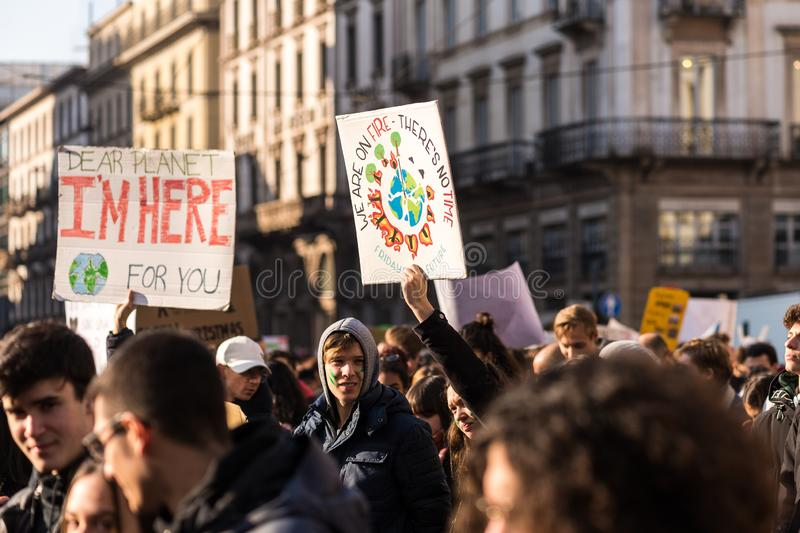 Milan, Italy - November 29: Fridays for Future strike protest, the italian students strike in Milan stock photography