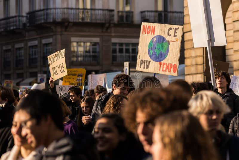 Milan, Italy - November 29: Fridays for Future strike protest, the italian students strike in Milan royalty free stock photo