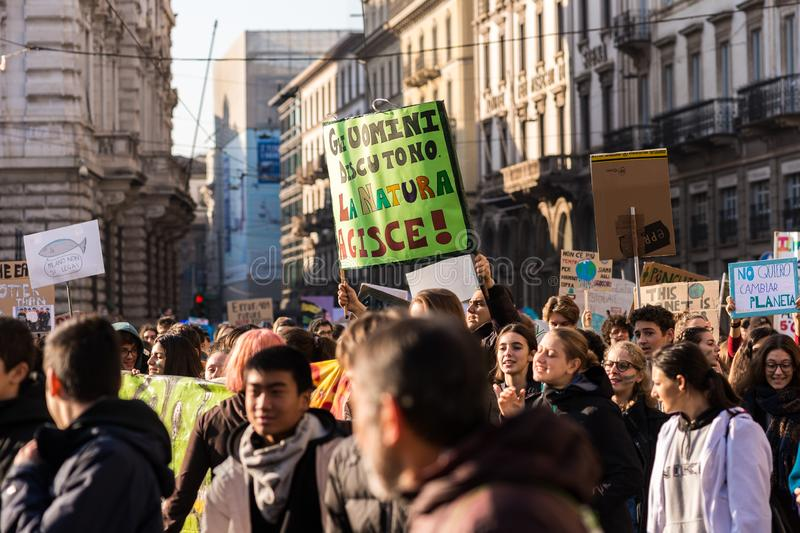 Milan, Italy - November 29: Fridays for Future strike protest, the italian students strike in Milan royalty free stock photography