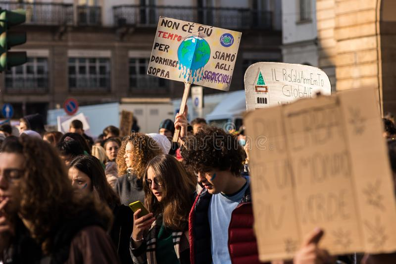 Milan, Italy - November 29: Fridays for Future strike protest, the italian students strike in Milan royalty free stock images