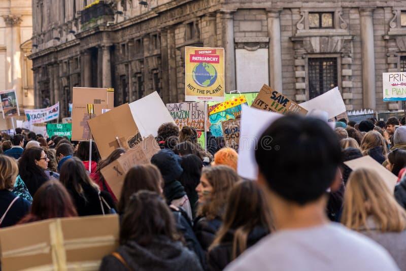 Milan, Italy - November 29: Fridays for Future strike protest, the italian students strike in Milan stock photos