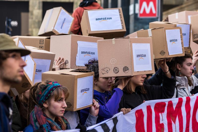 Milan, Italy - November 29: Fridays for Future strike protest, the italian students strike in Milan royalty free stock image