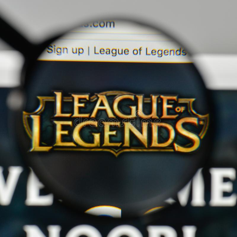Milan, Italy - November 1, 2017: League of Legends logo on the w. Ebsite homepage stock image