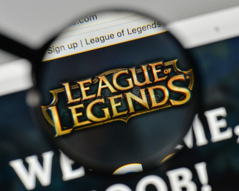 Milan, Italy - November 1, 2017: League of Legends logo on the w. Ebsite homepage stock photography