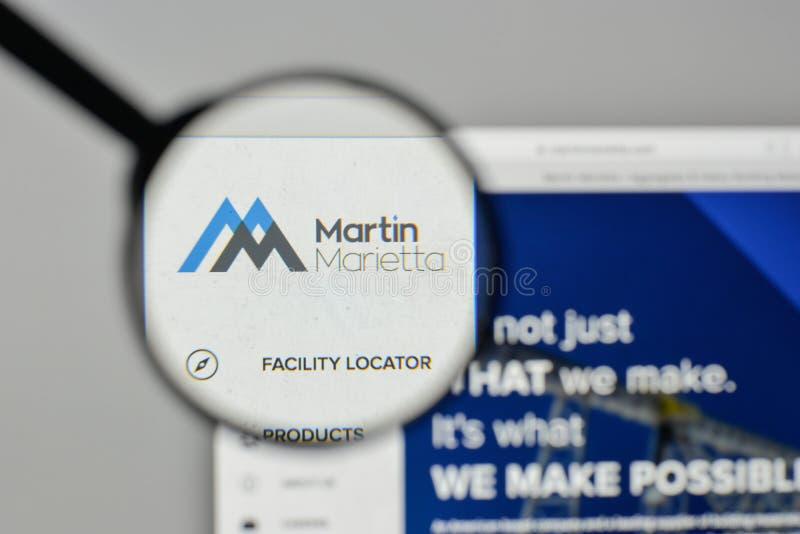 Milan, Italy - November 1, 2017: Martin Marietta Materials logo. On the website homepage stock image