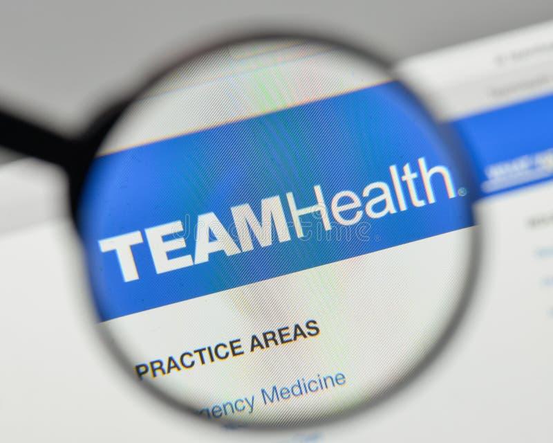 Milan, Italy - November 1, 2017: Team Health Holdings logo on th. E website homepage stock photo