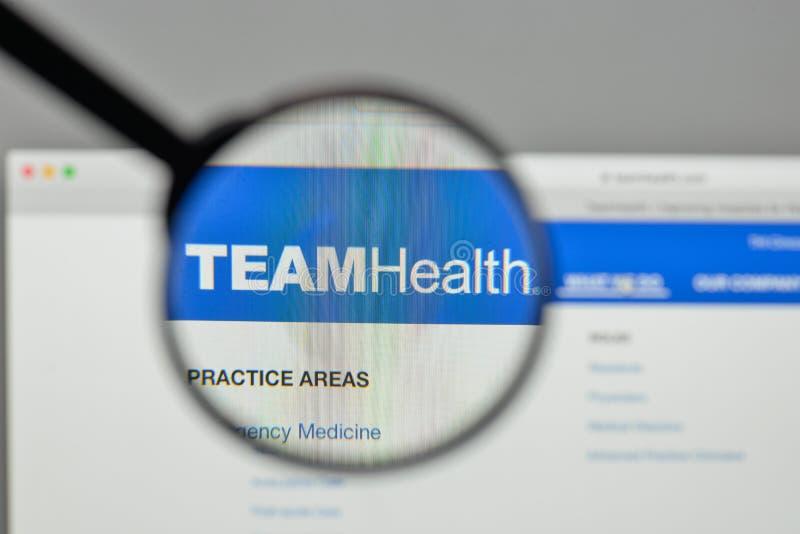 Milan, Italy - November 1, 2017: Team Health Holdings logo on th. E website homepage stock image