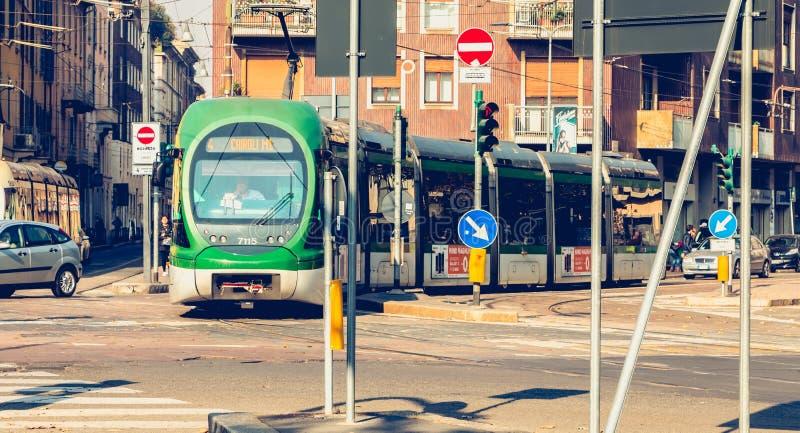Trolley of the company Azienda Trasporti Milanesi circulating in stock photos