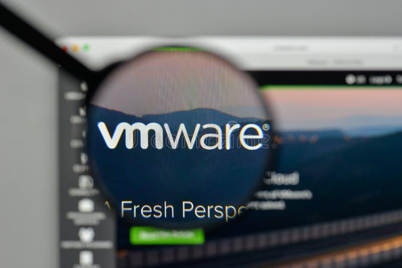 Milan, Italy - November 1, 2017: VM WARE logo on the website homepage. royalty free stock image