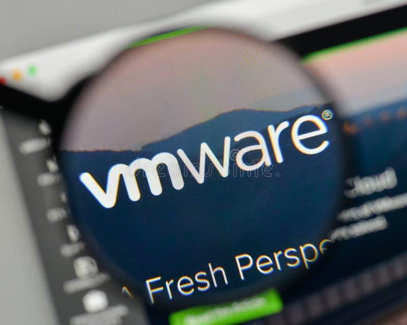 Milan, Italy - November 1, 2017: VM WARE logo on the website homepage. stock image