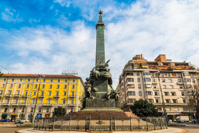 Milan, Italy. Obelisk on the square five days cinque giornate, inaugurated in 1895 royalty free stock photo