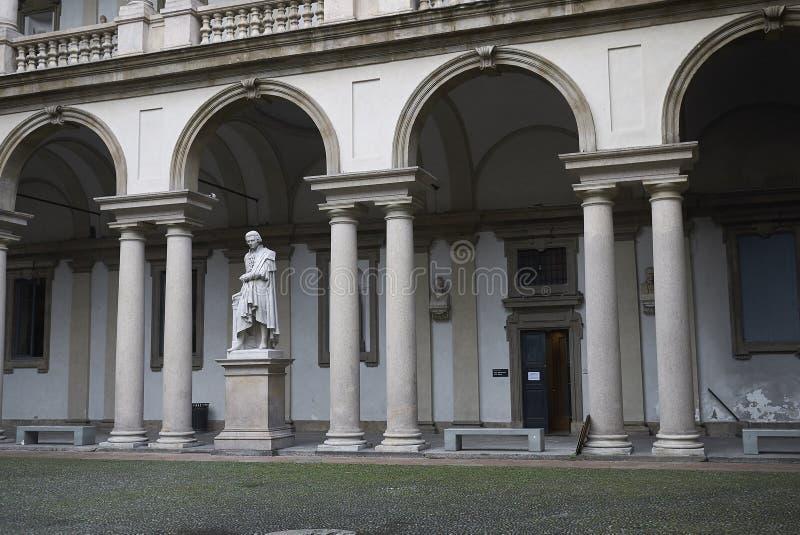 Accademia di Brera courtyard. Milan, Italy - October 17, 2019 : Accademia di Brera courtyard royalty free stock photos