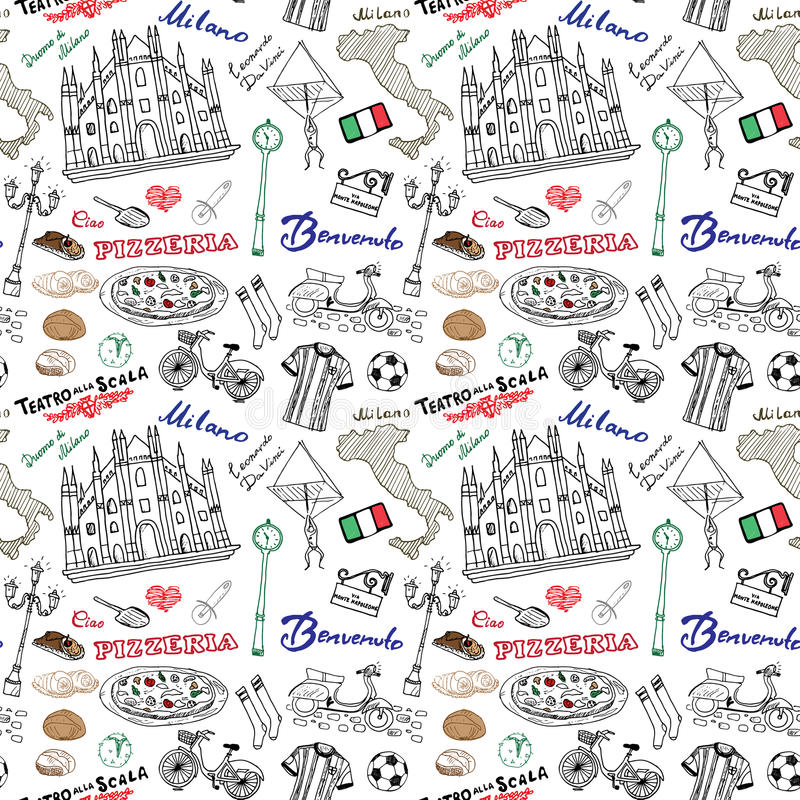 Milan Italy Seamless Pattern With Hand Drawn Sketch Elements Duomo