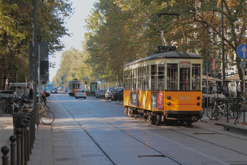 Milan, Italy - Sep 28, 2018: Rails and tram on Corso Sempione Street royalty free stock image