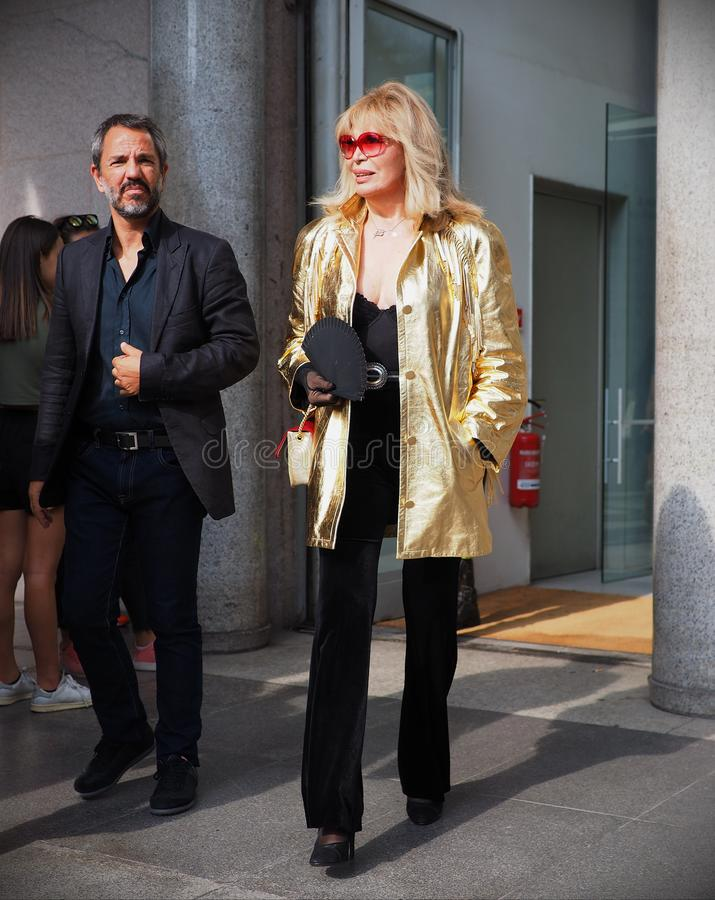 MILAN, Italy: September 22, 2018:AMANDA LEAR in the street. AMANDA LEAR in the street before Philosophy di Lorenzo Serafini fashion show during milano fashion royalty free stock photos