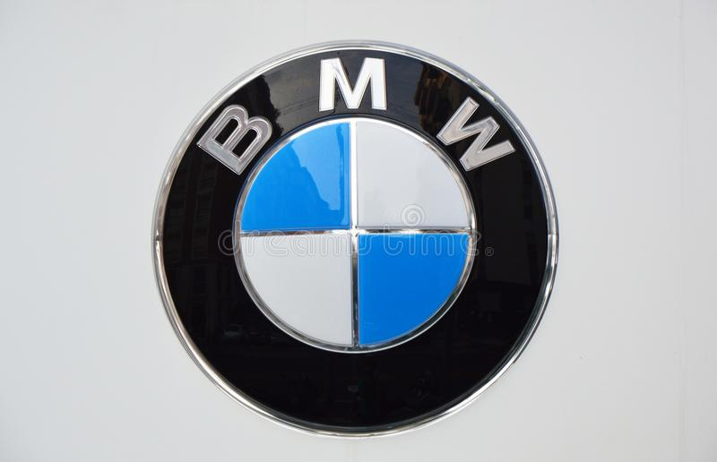 MILAN, ITALY - SEPTEMBER 7, 2017: BMW logo, BMW is a German luxury vehicle, sports car, motorcycle, and engine manufacturing compa stock photos