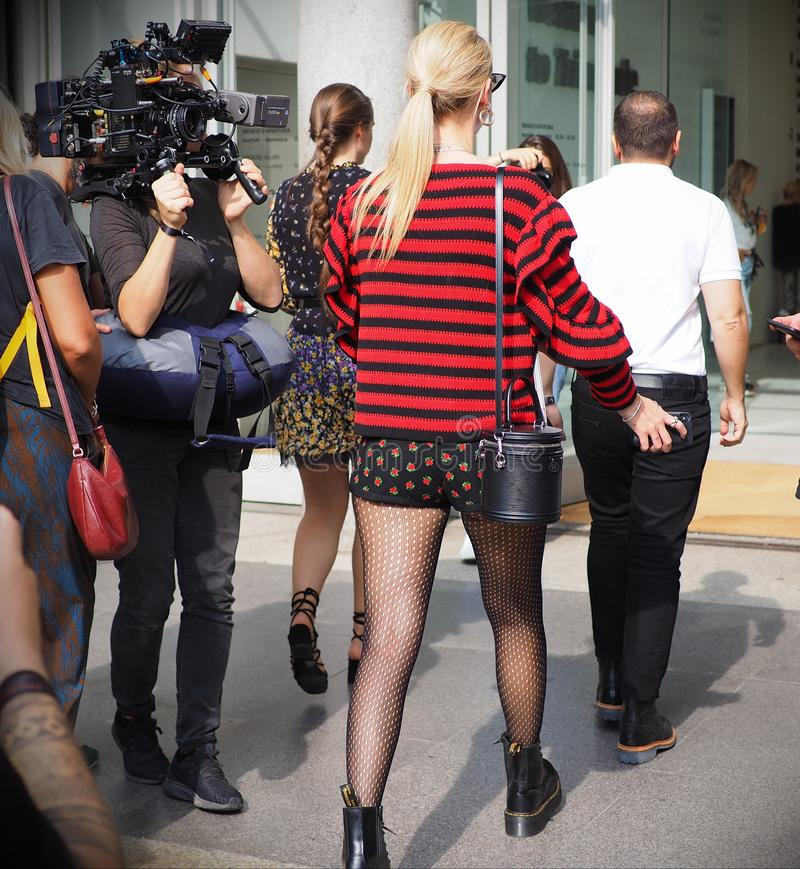 MILAN, Italy: September 22, 2018:CHIARA FERRAGNI streetstyle outfit. CHIARA FERRAGNI streetstyle outfit before Philosophy di Lorenzo Serafini fashion show during royalty free stock photos