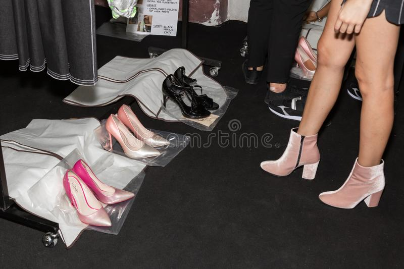 Detail of shoes in the backstage. MILAN, ITALY - SEPTEMBER 23: Detail of shoes in the backstage just before Francesca Liberatore show during Milan Women`s royalty free stock images