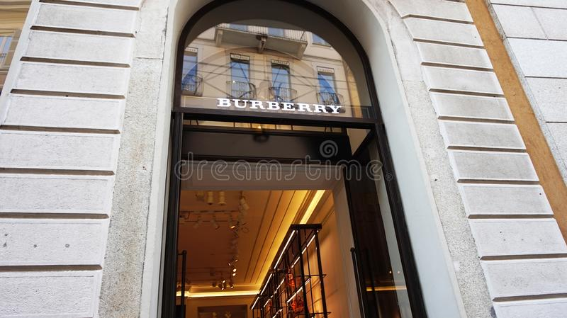 MILAN, ITALY - SEPTEMBER 7, 2017: Facade of Burberry store in Monte Napoleone Street in Milan center. Burberry is a British luxury royalty free stock image