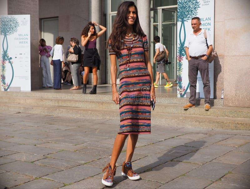 MILAN, Italy: 22 september 2018: Fashionable women in streetstyle outfit. Fashionable girl street style outfit before Philosophy di Lorenzo Serafini fashion show stock photo