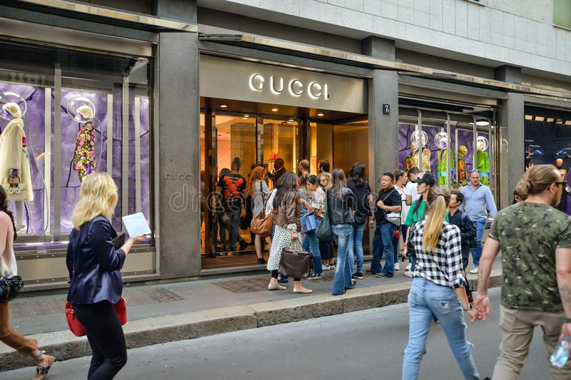 Milan, Italy - September 24, 2017: Gucci store in Milan. Fashio. N week Gucci shopping. New Collection royalty free stock images