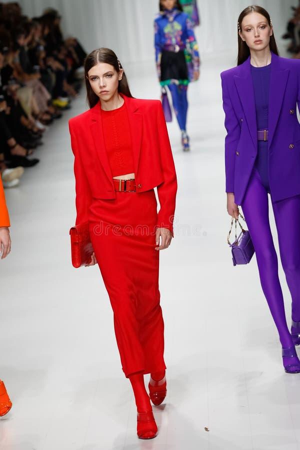 Lea Julian and Soso Korell walks the runway at the Versace show during Milan Fashion Week Spring/Summer 2018. MILAN, ITALY - SEPTEMBER 22: Lea Julian and Soso royalty free stock photos
