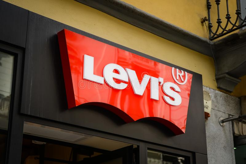 Milan, Italy - September 24, 2017: Levi's Jeans store in Milan. Fashion week shopping. New Collection royalty free stock images