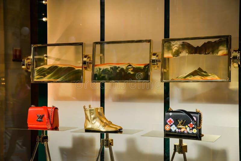 Milan, Italy - September 24, 2017: Louis Vuitton bag in a Louis. Vuitton store in Milan. Fashion week. New Collection royalty free stock image