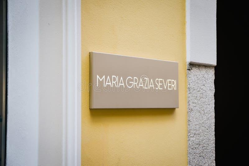 Milan, Italy - September 24, 2017: Maria Grazia Severi store in. Milan. Fashion week Maria Grazia Severi shopping. New Collection stock photo