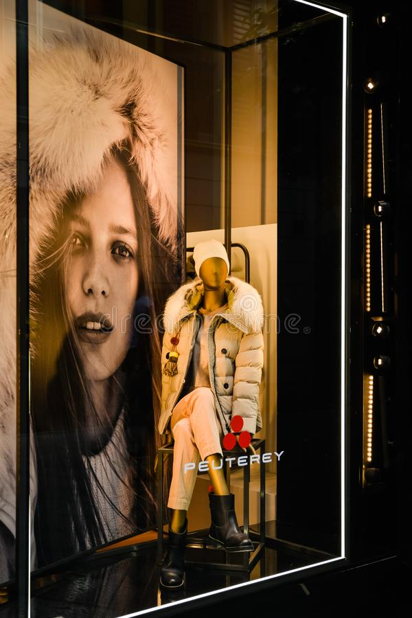 Milan, Italy - September 24, 2017: Peuterey store in Milan. Fas. Hion week Peuterey shopping. New Collection stock images