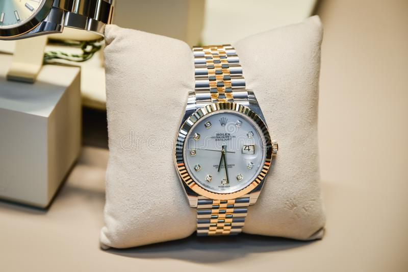 Milan, Italy - September 24, 2017: Rolex watches in a store in royalty free stock photos