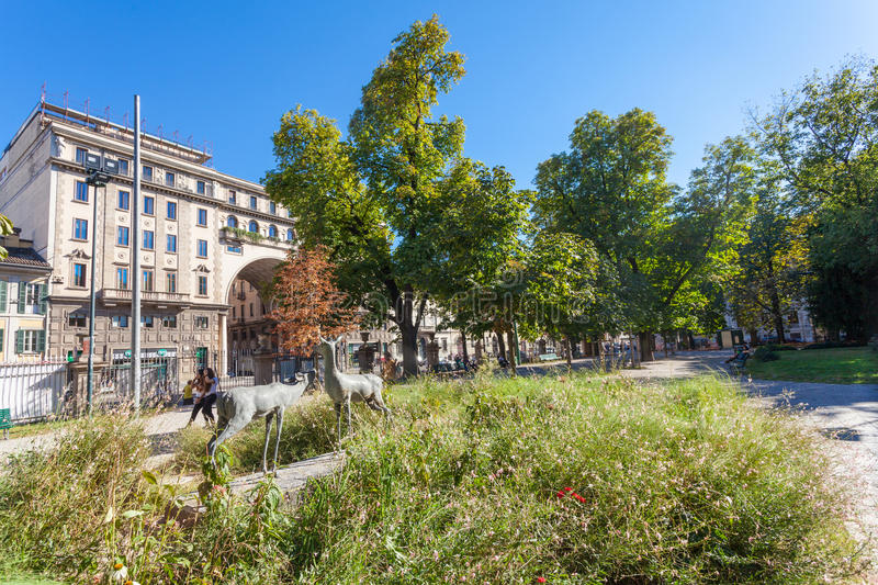 MILAN, ITALY - September 06, 2016: Sculptures of two deers are near Milan Natural History Museum Museo Civico di Storia Naturale stock images