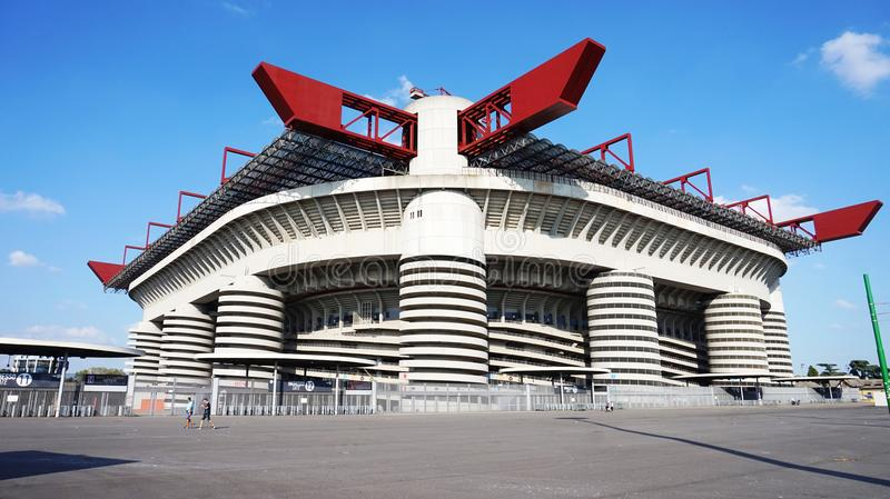 MILAN, ITALY - SEPTEMBER 13, 2017: Stadio Giuseppe Meazza commonly known as San Siro, is a football stadium in the San Siro distri royalty free stock photos