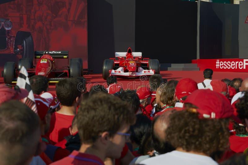 Milan, Italy - September 4th 2019: Ferrari Racing Formula One 90th Anniversary, Duomo square. Michael Schumacher car stock images