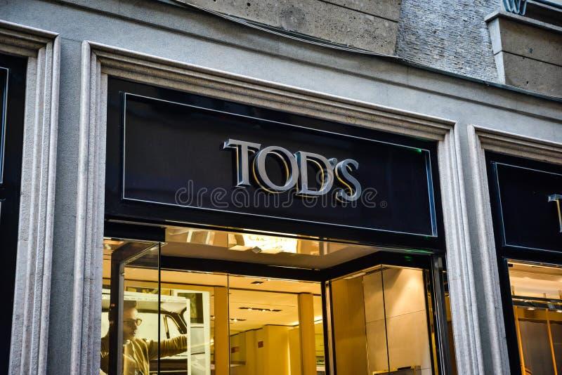 Milan, Italy - September 24, 2017: Tod's store in Milan. Fashio stock photos