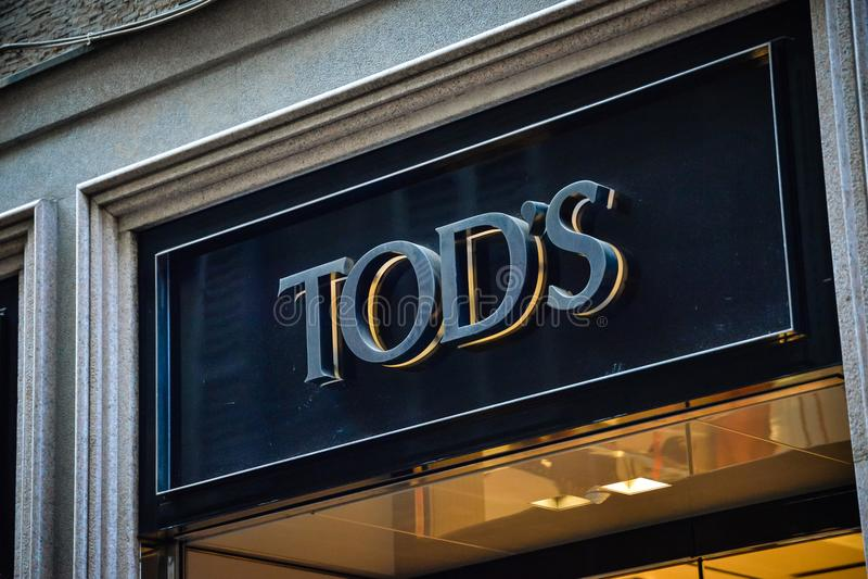Milan, Italy - September 24, 2017: Tod's store in Milan. Fashio. N week Tod's shopping. New Collection stock photos
