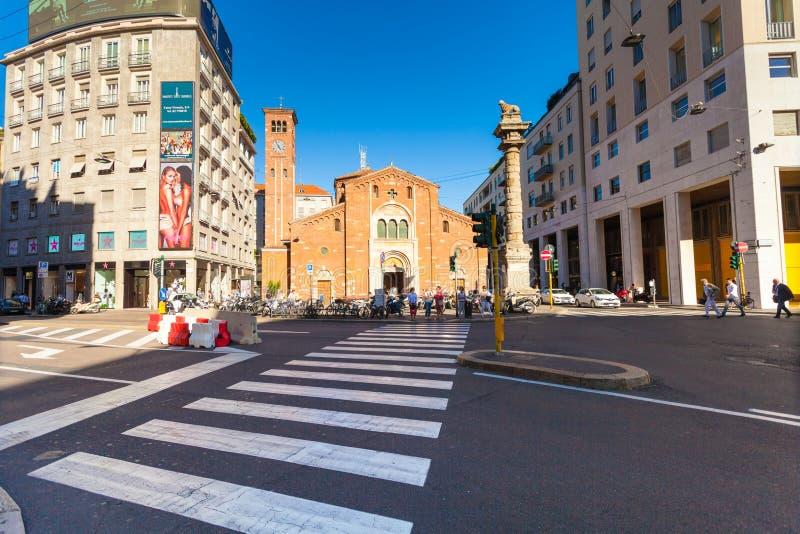 MILAN, ITALY - September 06, 2016: View on the Church of San Babila Basilica di San Babila royalty free stock photos