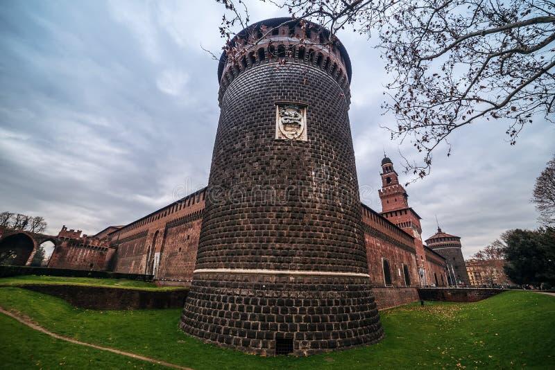 Milan, Italy: Sforza Castle, Castello Sforzesco stock photography