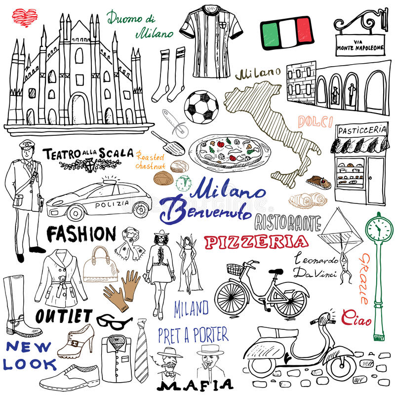 Free Milan Italy Sketch Elements. Hand Drawn Set With Duomo Cathedral, Flag, Map, Shoe, Fashion Items, Pizza, Shopping Street Royalty Free Stock Photo - 58473575
