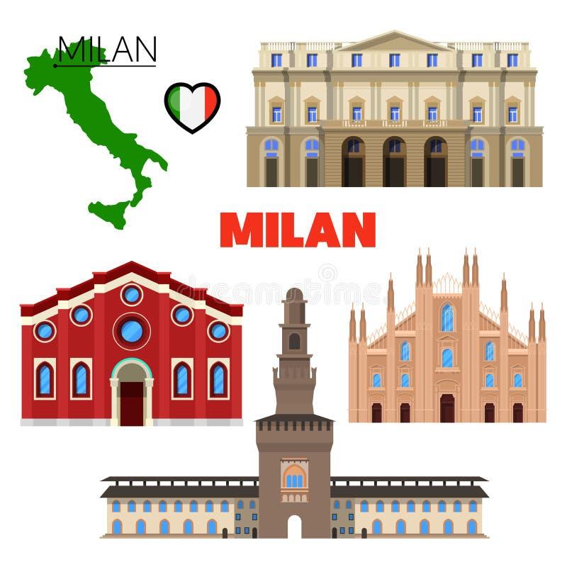 Milan Italy Travel Doodle mit Architektur, Karte und Flagge lizenzfreie abbildung